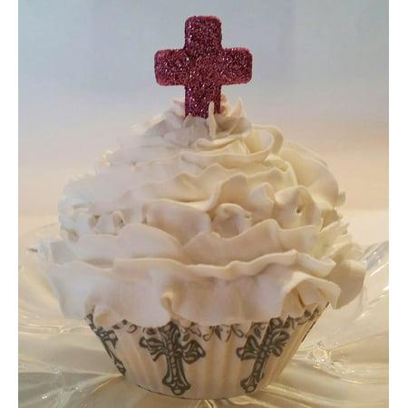 Dezicakes Fake Cupcake Communion Cross Faux Cupcake- PINK Cross Fake Food Display party favor,decoration, prop](Pink Safari Cupcakes)
