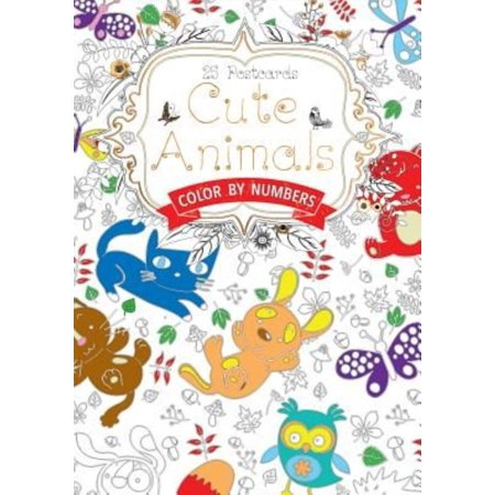Cute Animals Postcard Book  Colour By Numbers