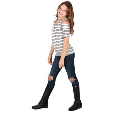 Lori & Jane Girls White Black Striped Short Sleeve Cold Shoulder Top