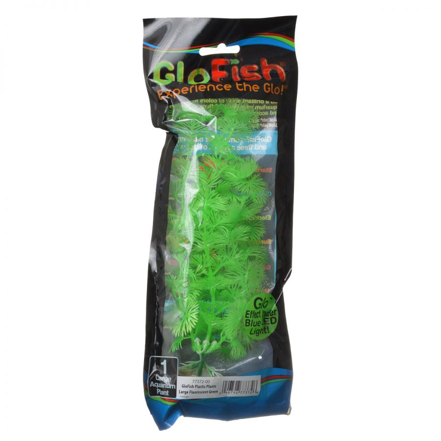 GloFish Green Aquarium Plant Large - (7-8.5 High) - Pack of 4