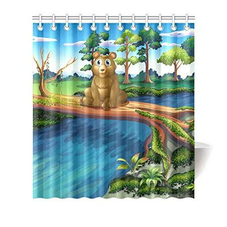 MKHERT Bear Shower Curtain Waterproof Bath Decor 66x72 Inch