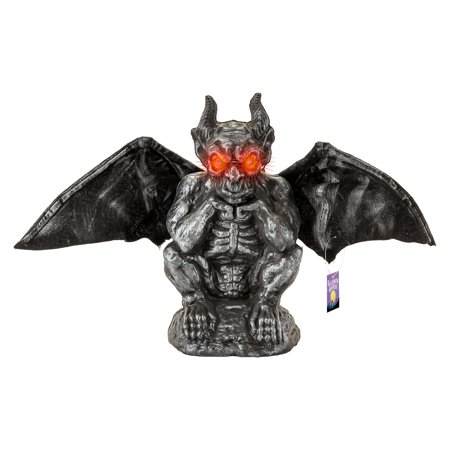 Halloween Haunters Animated Gargoyle Prop Decoration, Flapping Wings, LED Eyes - Halloween Card Animated
