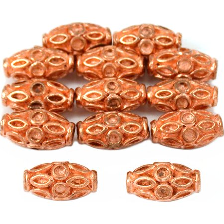 15g Bali Fluted Tube Beads Copper Plt 11.5mm Approx - Bali Style Tube Bead