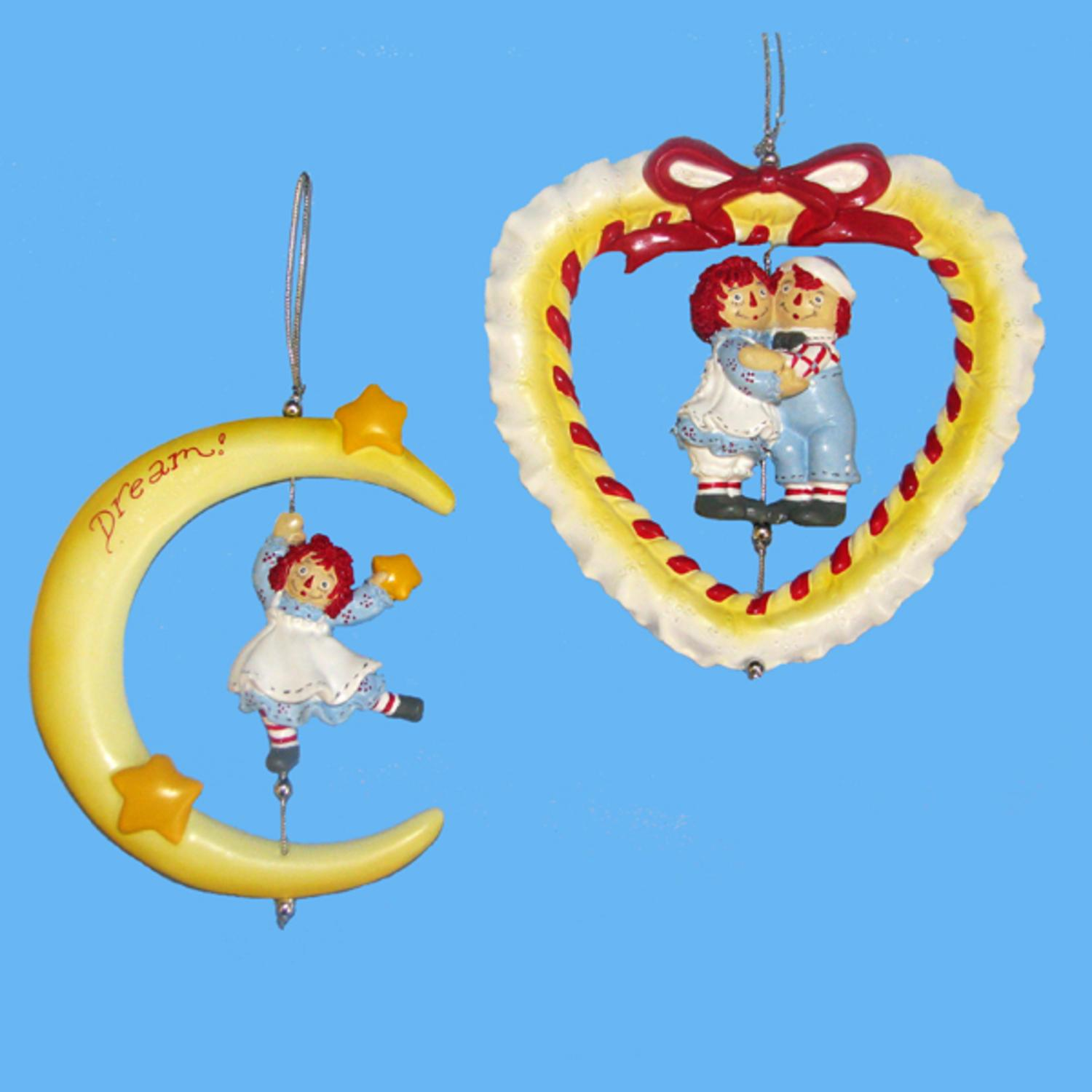 KSA Club Pack of 12 Raggedy Ann and Andy Moon and Heart C...