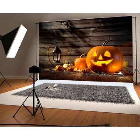 HelloDecor Polyster 7x5ft Photography Backdrop Halloween Pumpkin Lights Candles Vintage Wooden Wall Photographic Background Video Studio Props Children Baby (Vintage Halloween Photographs)