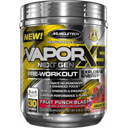 MuscleTech Vapor X5 Next Gen Explosive Energy Pre Workout Powder, Fruit Punch, 30