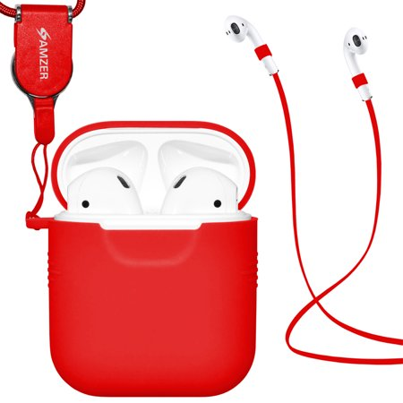 e6cae0e67f7 AirPods Case Protective Silicone Cover and Skin for Apple Airpods Charging  Case With Airpod Strap and Neck Lanyard - Red - Walmart.com