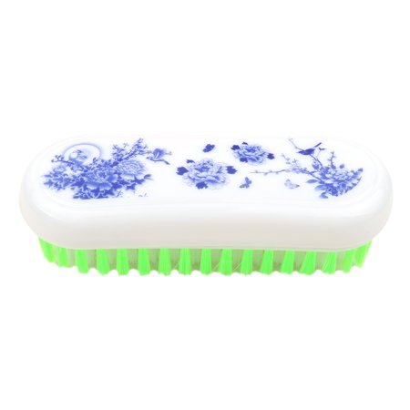 - Household Plastic Floral Pattern Oval Shaped Shoes Clothes Scrubbing Brush Green