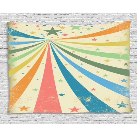 Circus Tapestry, Colorful Carnival Background with Rainbow Spectrum Rays and Stars on Grungy Texture, Wall Hanging for Bedroom Living Room Dorm Decor, 60W X 40L Inches, Multicolor, by Ambesonne