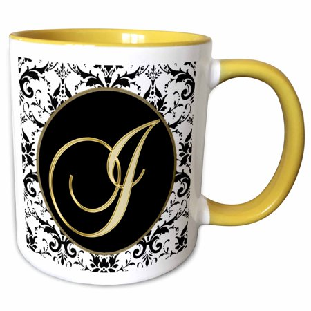 7300 Yellow Imaging Unit (3dRose Image of The Script Letter I in Black White and Gold - Two Tone Yellow Mug, 11-ounce )
