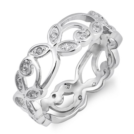 White CZ Stackable Filigree Flower Ring New .925 Sterling Silver Band Size