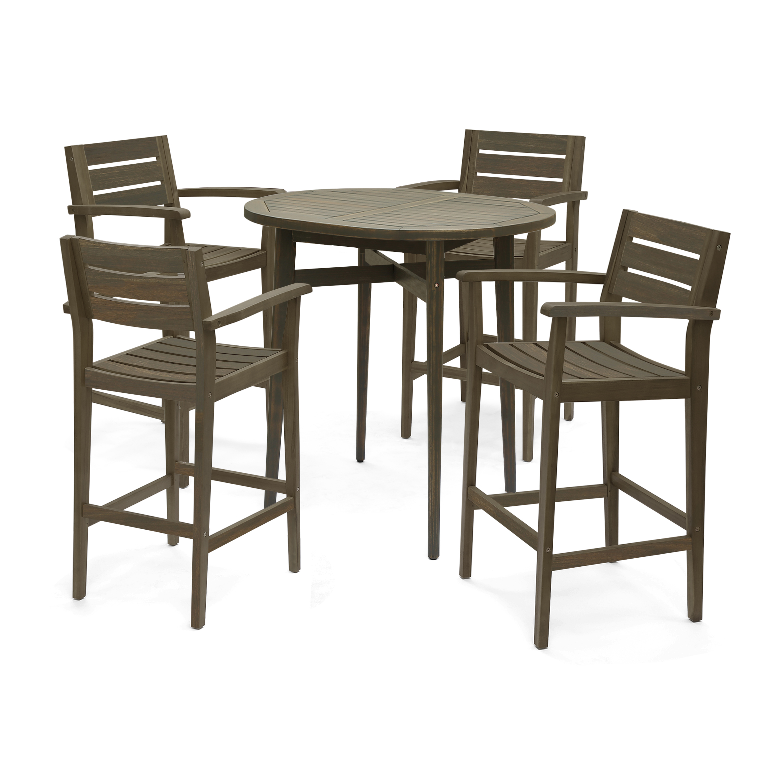 """Stanford Outdoor Solid Acacia Wood Bar Height Table Set, Includes 4 Bar Stools, 30"""" Seats, Gray Finish"""