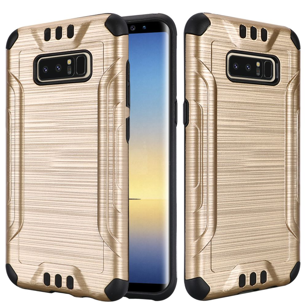 Kaleidio Case For Samsung Galaxy Note 8 [Combat Armor] Protective Brushed Metallic [Shockproof] Impact Hybrid Cover w/ Overbrawn Prying Tool [Gold/Black]