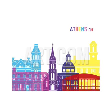 Athens Oh Skyline Pop Print Wall Art By paulrommer