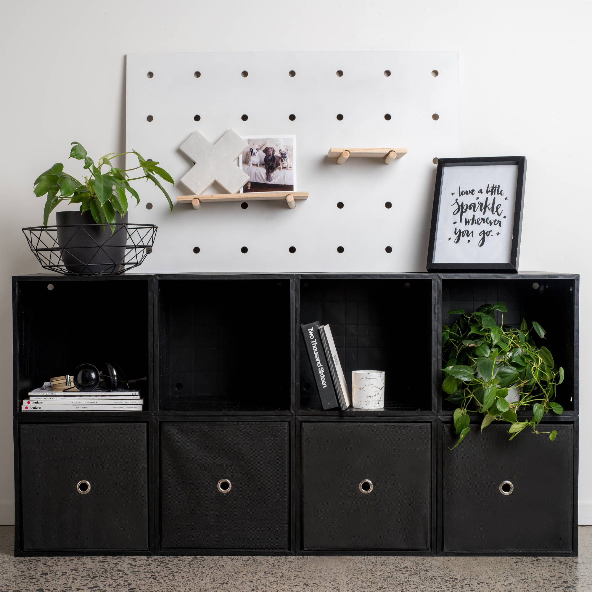 iCube 8-Cube Organizer with Drawers, Black