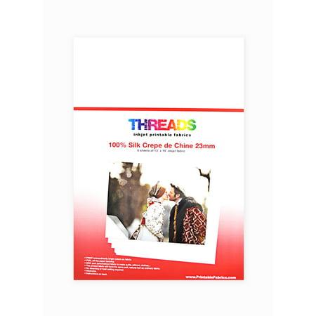 Classic Inkjet - Threads Inkjet Printable Fabrics 23mm  Silk Crepe de Chine 13in x 19in