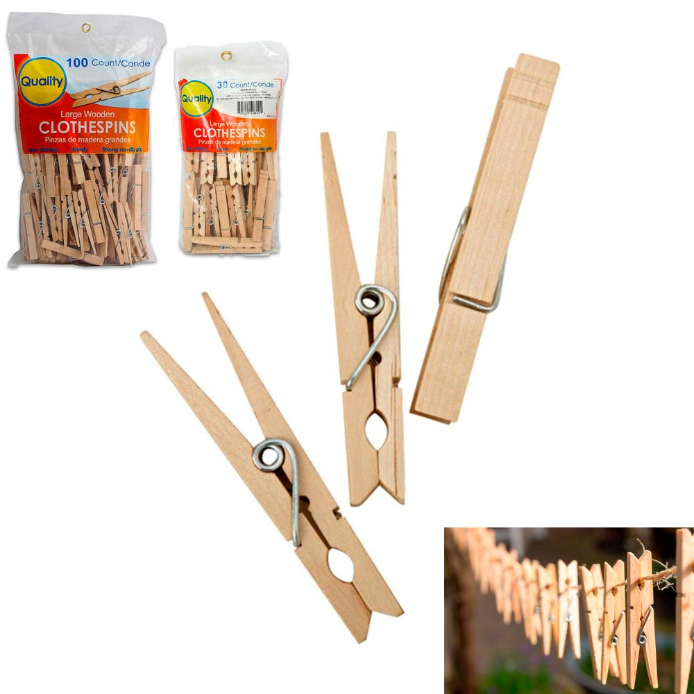"AllTopBargains 130 Wooden 3 1/4"" Inch Large Clothespins Laundry Spring Wood Clothes Pins Crafts"