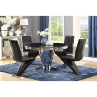 Coaster Barzini 5 Piece Round Glass Top Dining Set in Black and Chrome