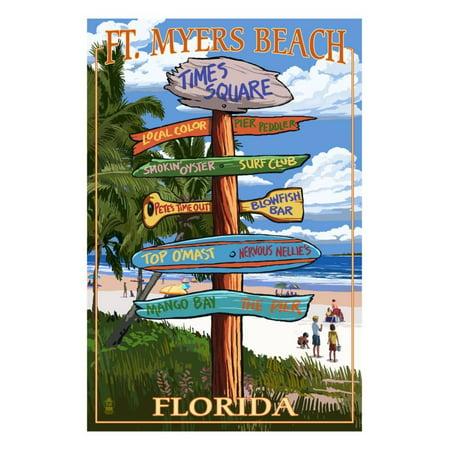 Ft. Myers Beach, Florida - Destination Signs Print Wall Art By Lantern Press ()