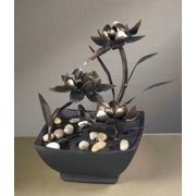 """9"""" Contemporary Multi-Tiered Asian Flower Indoor Table Top Water Fountain"""