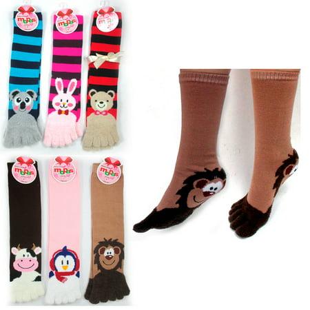 3 Pairs Toe Socks Calf Length Funny Feet Animal Womens Striped Toe Socks - Animal Womens