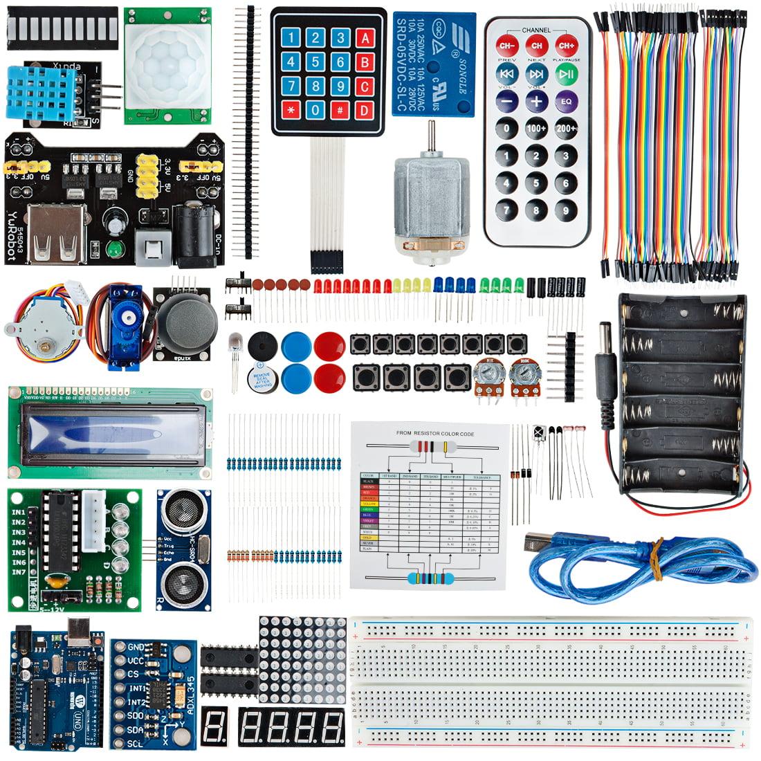 UNO R3 Board Project Kit LCD1602 Servo Motor Buzzer Sensor For Arduino