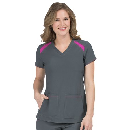 - Activate by Med Couture Women's Color Block V-Neck Solid Scrub Top