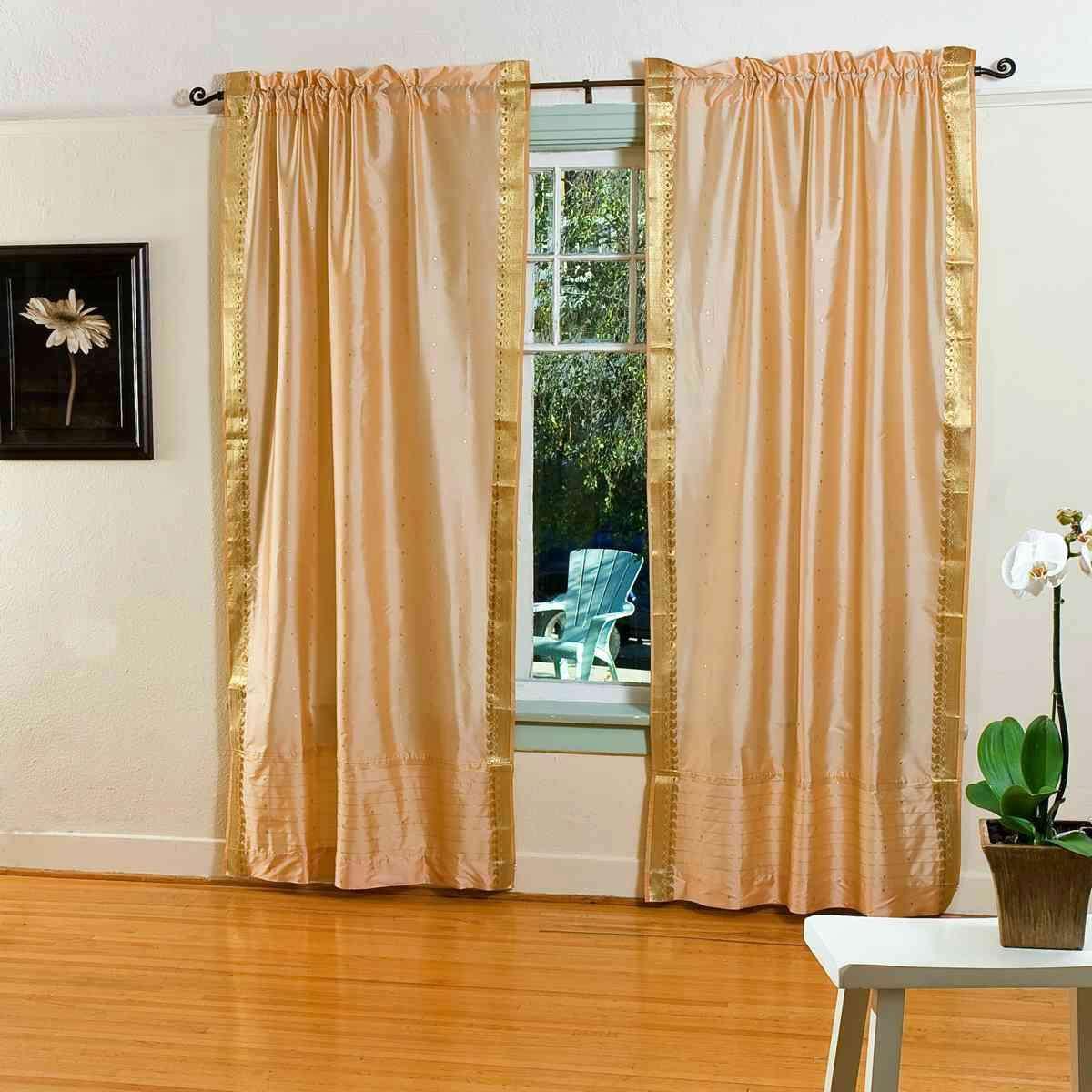 Gold Rod Pocket Sheer Sari Curtain Drape Panel Pair Walmartcom