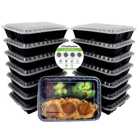 Freshware 15-Pack 3 Compartment Bento Lunch Boxes with Lids - Stackable Reusable Microwave Dishwasher & Freezer Safe - Meal Prep Portion Control 21 Day Fix & Food Storage Containers (36oz), (Lid Foam Container 3 Compartments)