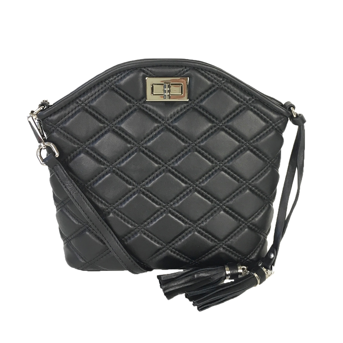 Zenith Quilted Leather Dome Convertible Crossbody, Black