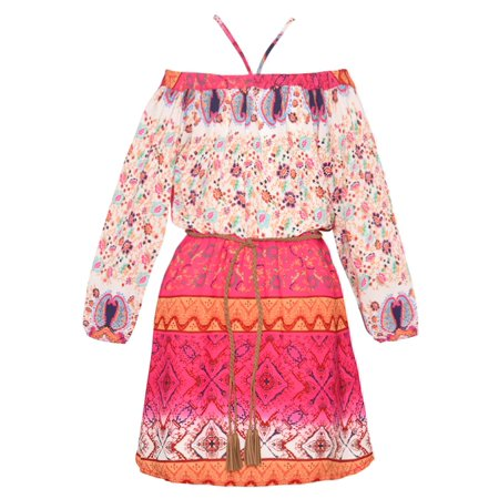 Rare Editions Girls Fuchsia Ethnic Motif Floral Print Easter (Rare Editions Easter Dress)