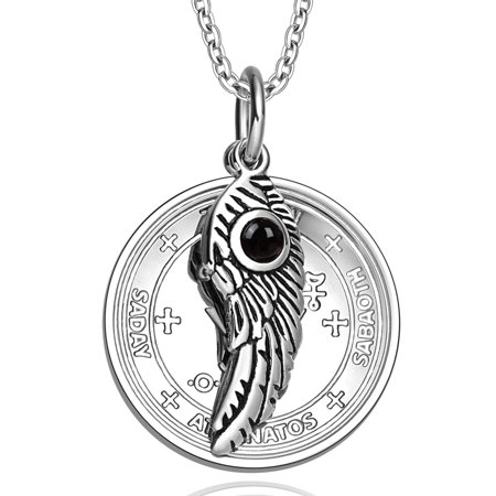 Archangel Michael Sigil Amulet Magic Powers Angel Wing Simulated Black Onyx Pendant 18 Inch Necklace