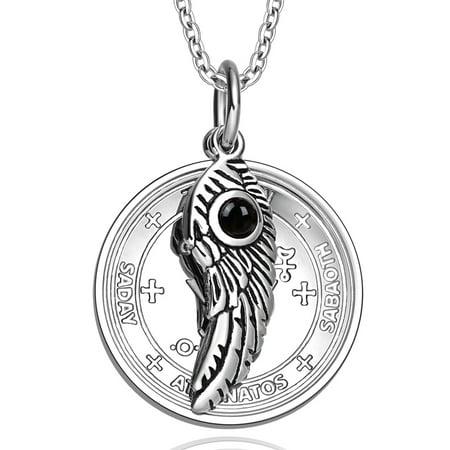 - Archangel Michael Sigil Amulet Magic Powers Angel Wing Simulated Black Onyx Pendant 18 Inch Necklace
