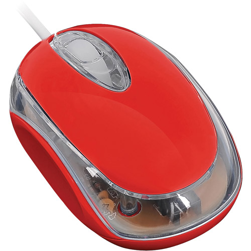 FileMate Imagine Series M1210 Wired Mini Optical Mouse,  Luminous Red w/White