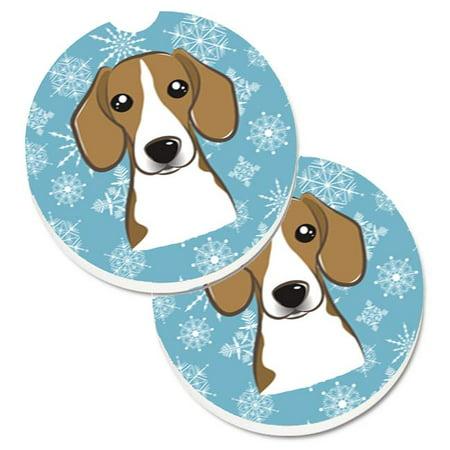 Snowflake Beagle Set of 2 Cup Holder Car Coaster - image 1 de 1