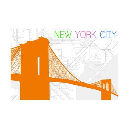New York City, NY - Neon Brooklyn Bridge Print Wall Art By Lantern Press (Ny Brooklyn Bridge)