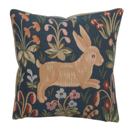 Running Rabbit in Blue French Cushion - A - H 14 x W 14(Medium) - image 1 de 1