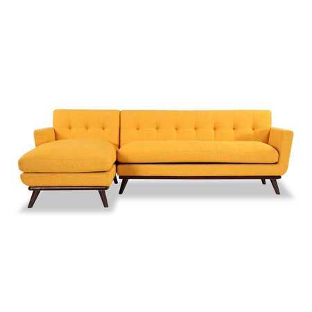 Kardiel Jackie Mid-Century Modern Sectional Sofa, Citrus Pop, Material:  Twill, L