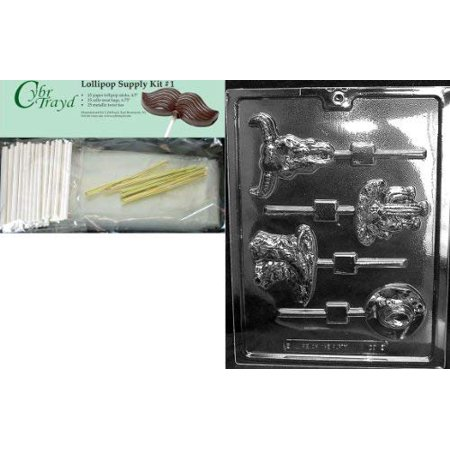 Cybrtrayd 45StK25G-K128 Western Theme Pops Kids Chocolate Candy Mold with Lollipop Supply Bundle, Includes 25 Lollipop Sticks, 25 Cello Bags, 25 Gold Twist Ties and Instructions