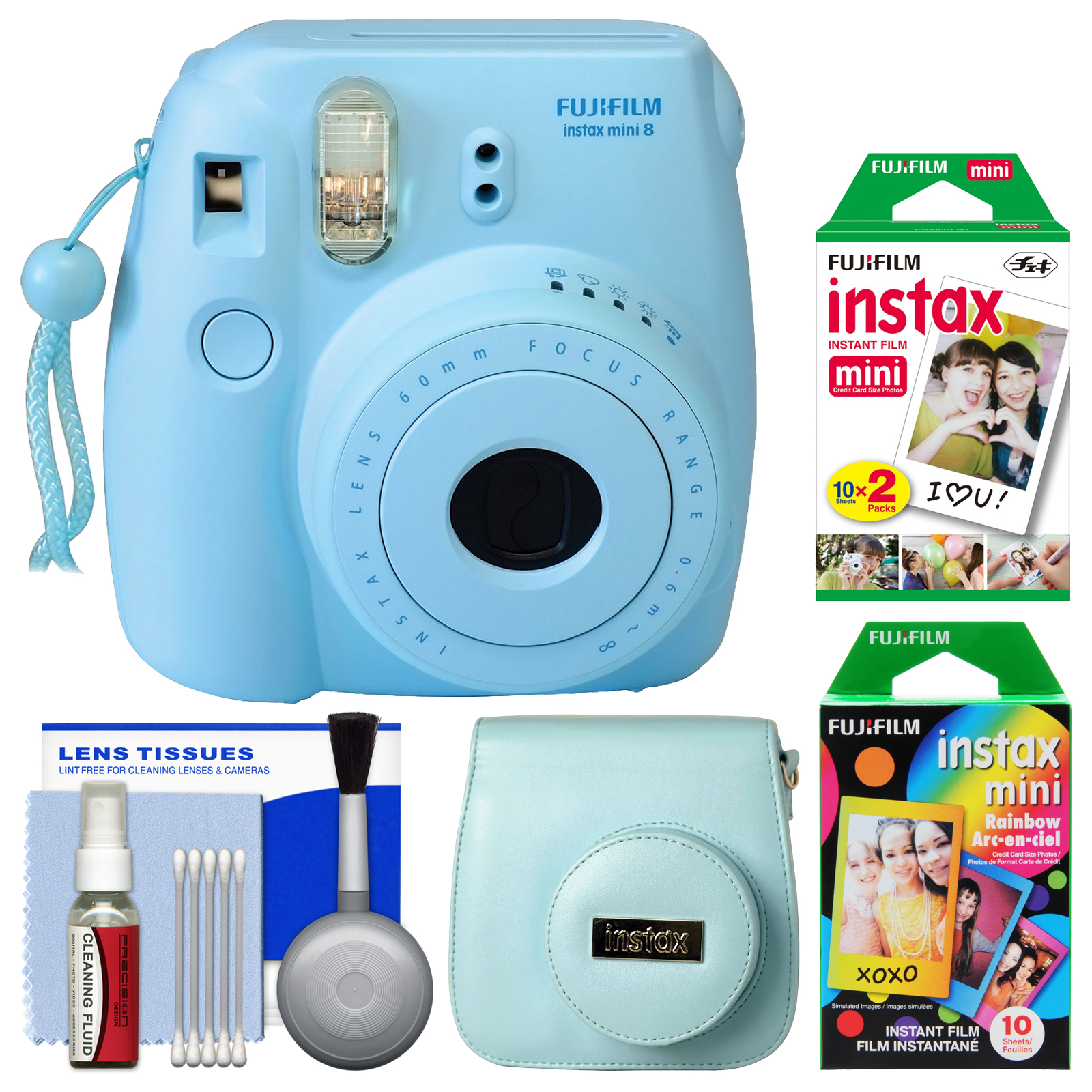 Fujifilm Instax Mini 8 Instant Film Camera (Blue) with 20 Twin & 10 Rainbow Prints + Case + Kit