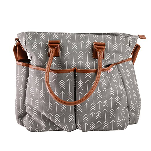 DANHA Arrow Print Diaper Bag with Matching Baby Changing Pad