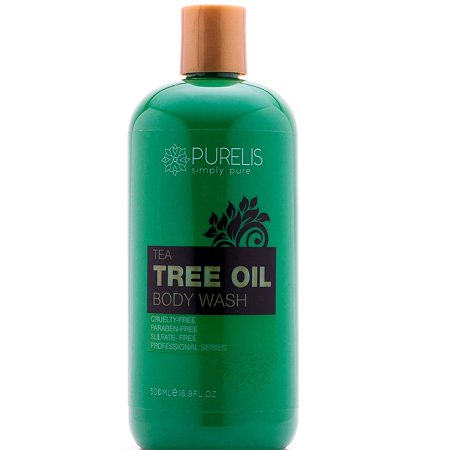 Purelis Tea Tree Body Wash, 16.9 oz, Best Tea Tree Wash - Antifungal Soap, Foot Soak for Athlete's Foot, fungus etc. Tea Tree Oil Soap. Sulfate Free Tea Tree Body & Foot