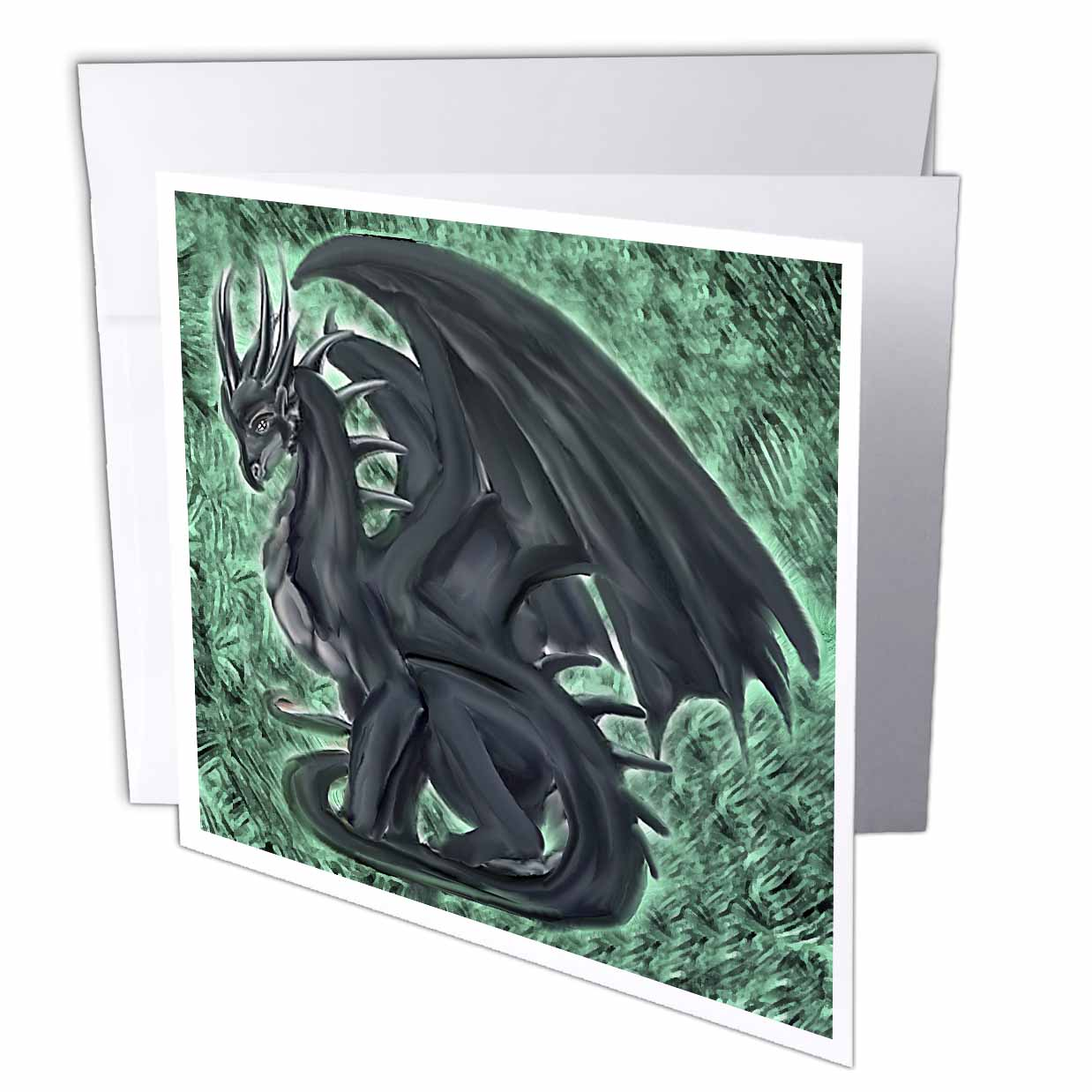 3dRose Night Dragon, Greeting Cards, 6 x 6 inches, set of 12