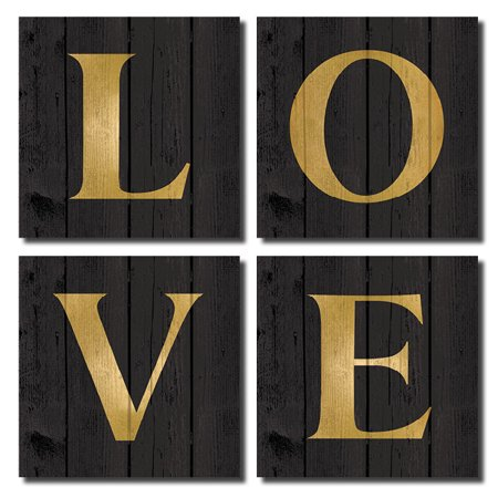 Lovely Black and Gold LOVE Print Set: Four 12x12in Paper Posters (Printed on Paper, Not Wood)