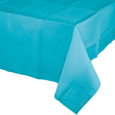 Touch Of Color Tissue Tablecover  54  X 108   Poly Backing  Bermuda Blue  1 Ct