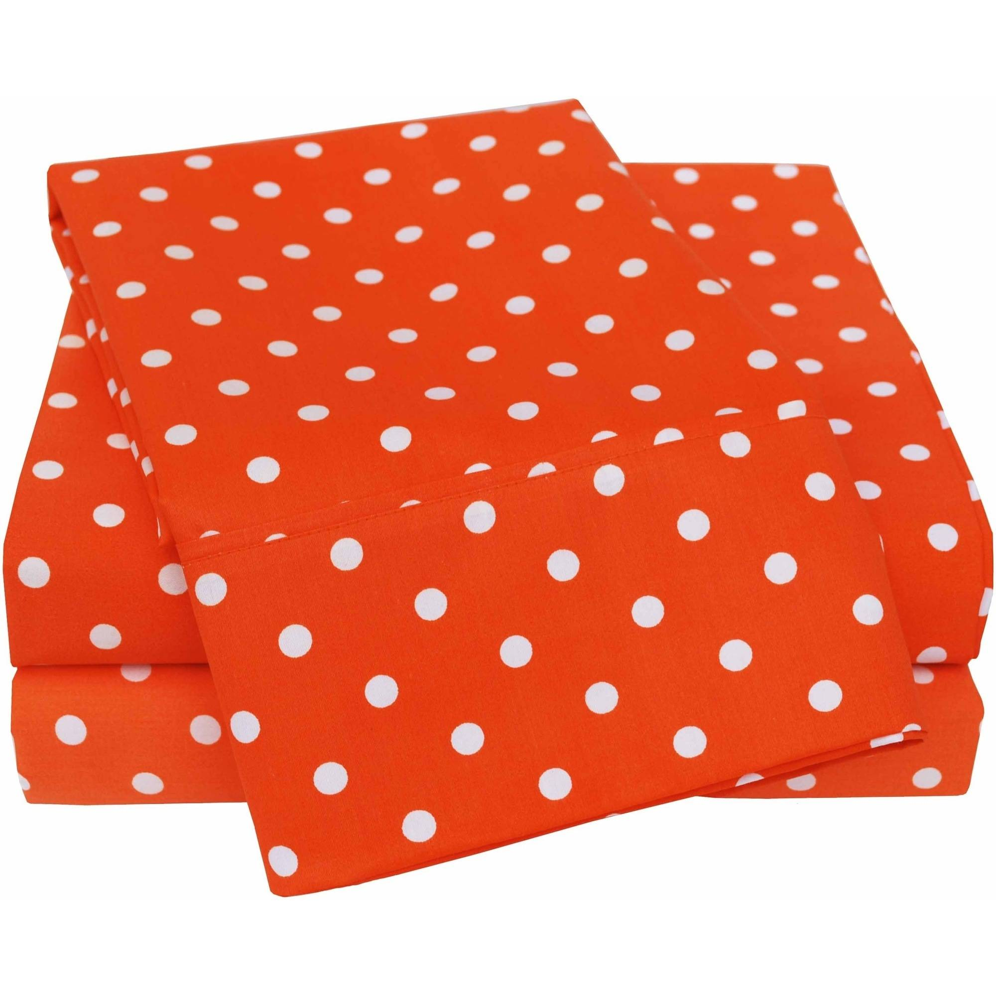 Superior 600 Thread Count Wrinkle-Resistant Luxury Cotton Polka Dots Design Sheet Set