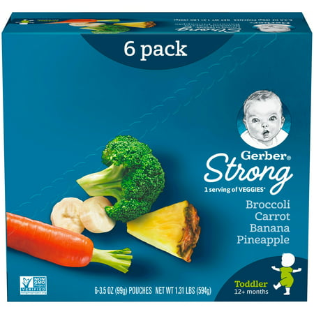 Gerber Toddler Food, Strong Broccoli Carrot Banana Pineapple, 3.5 oz. Pouches (Pack of 6)