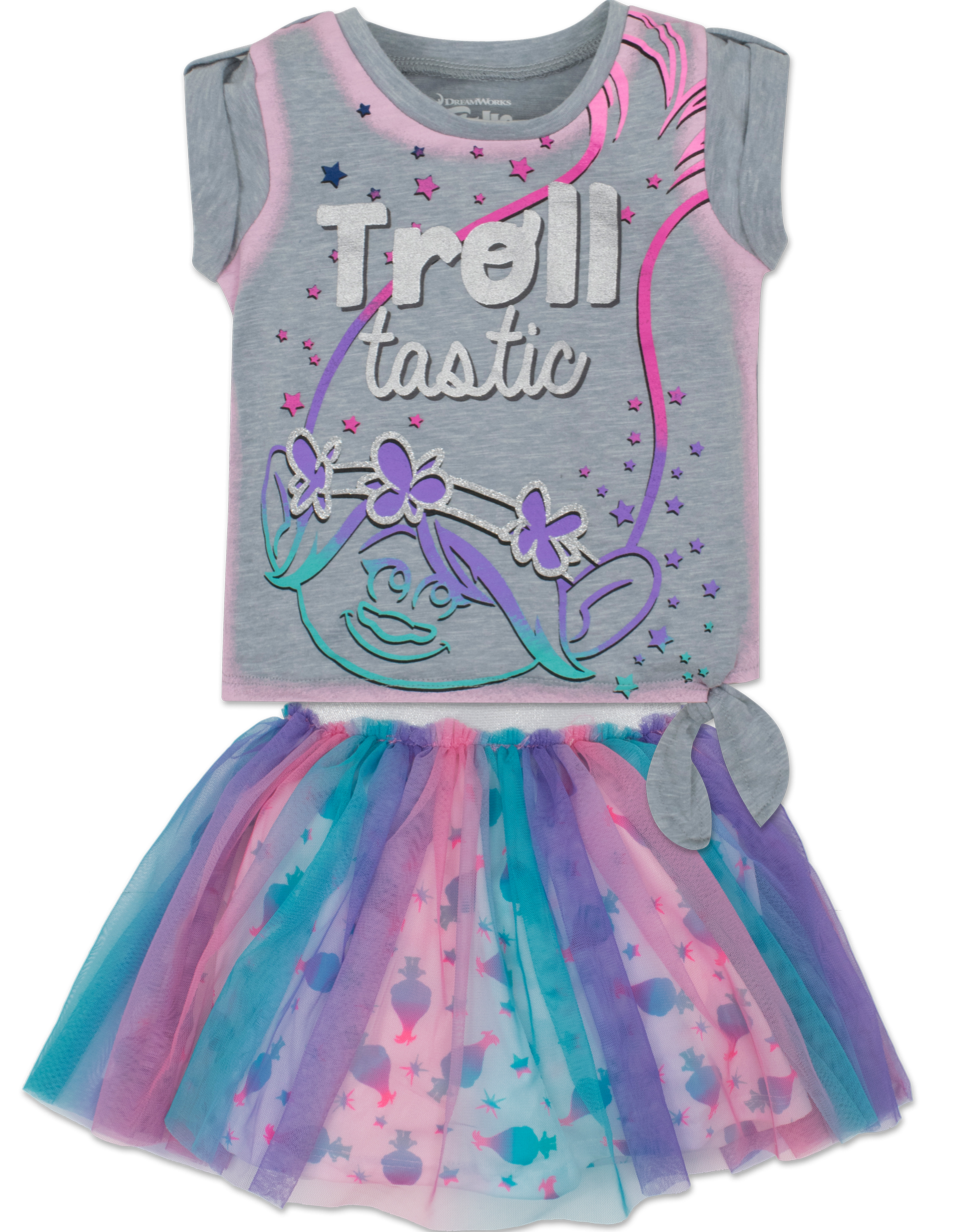 Toddler Girls' Trolls Shirt and Skirt Set -Poppy, Heather Grey