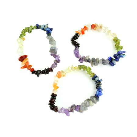 Chakra Energy Natural Gemstone Elastic Bracelet,  (Set of 3 Strands)