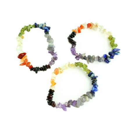 Chakra Energy Natural Gemstone Elastic Bracelet,  (Set of 3 Strands) - Elastic Bracelets